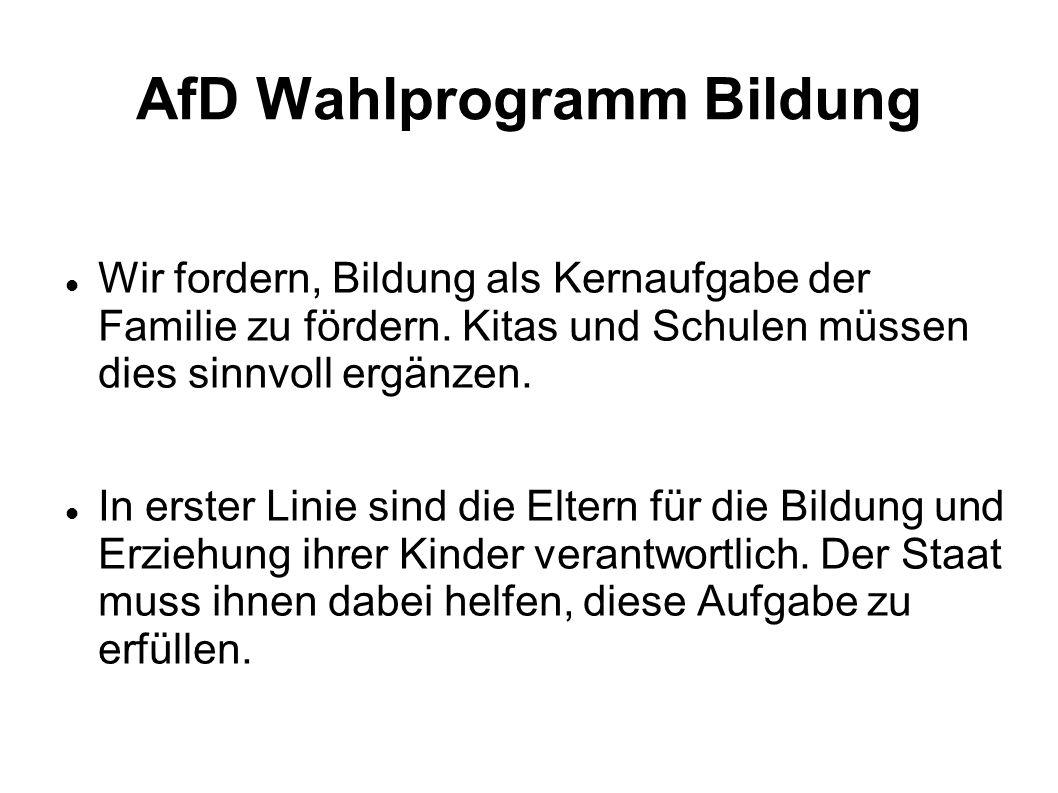 AfD Wahlprogramm Bildung