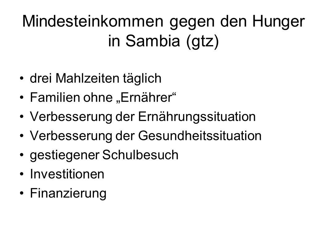 Mindesteinkommen gegen den Hunger in Sambia (gtz)