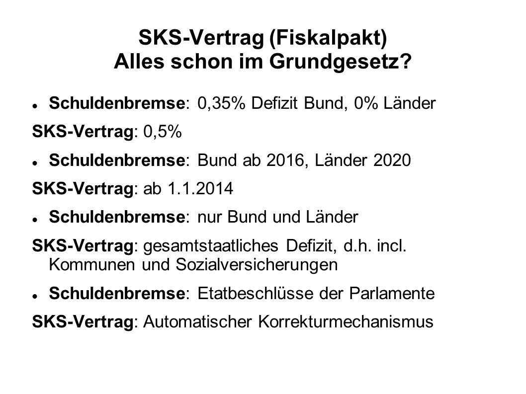 SKS-Vertrag (Fiskalpakt) Alles schon im Grundgesetz