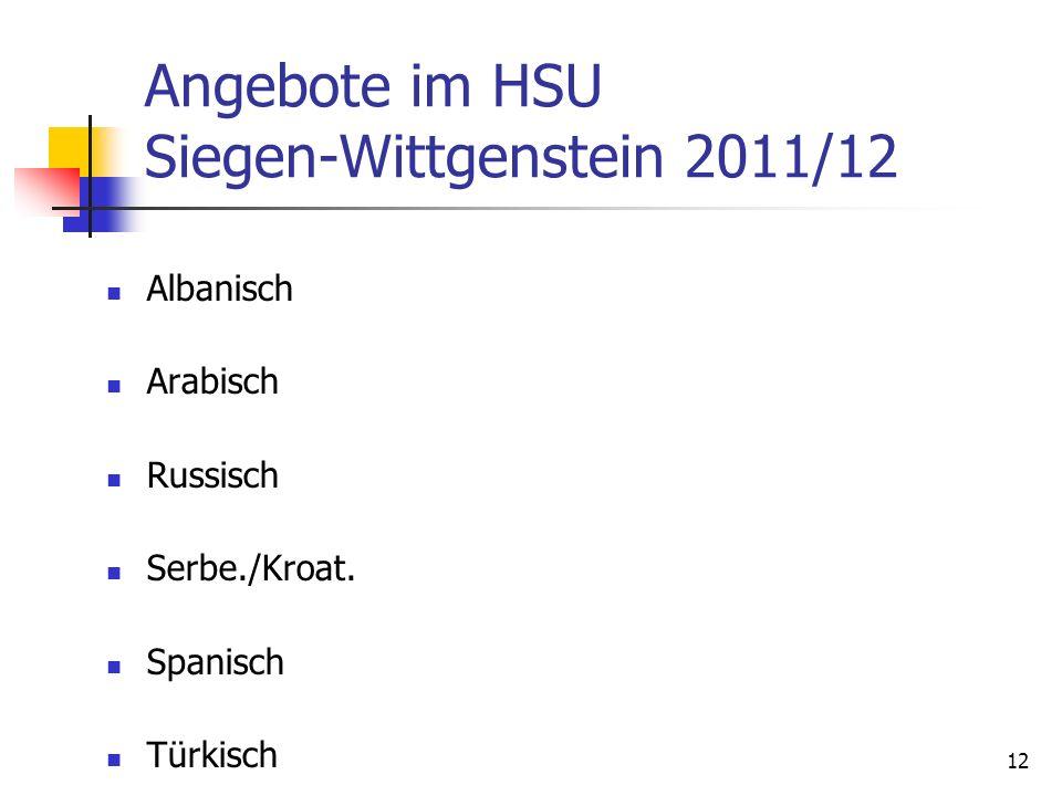 Angebote im HSU Siegen-Wittgenstein 2011/12
