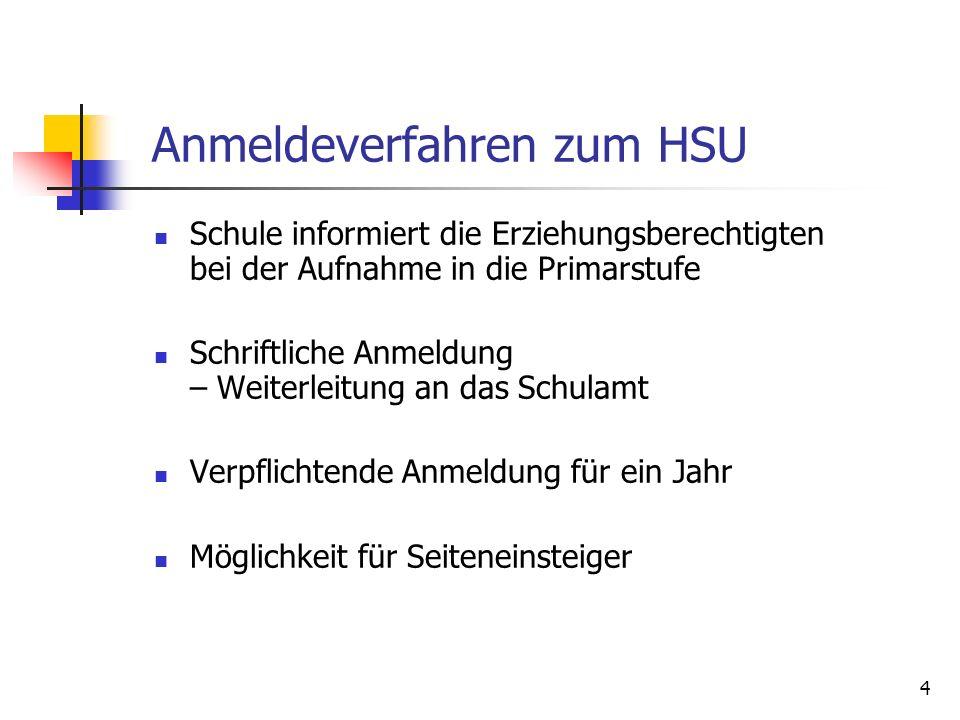 Anmeldeverfahren zum HSU