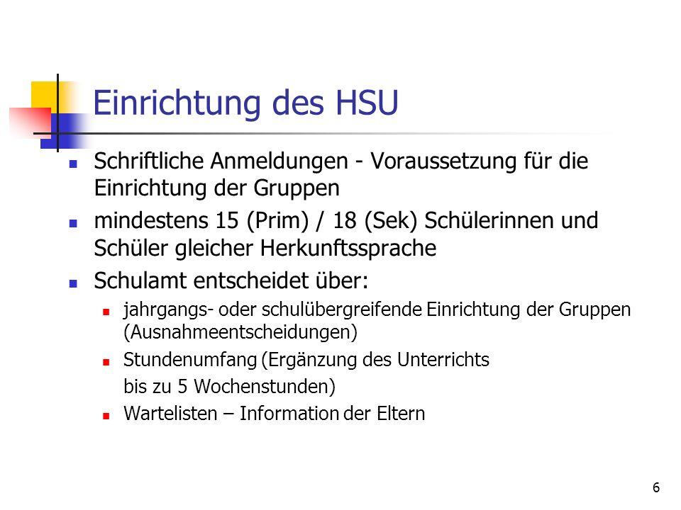 Einrichtung des HSU Schriftliche Anmeldungen - Voraussetzung für die Einrichtung der Gruppen.