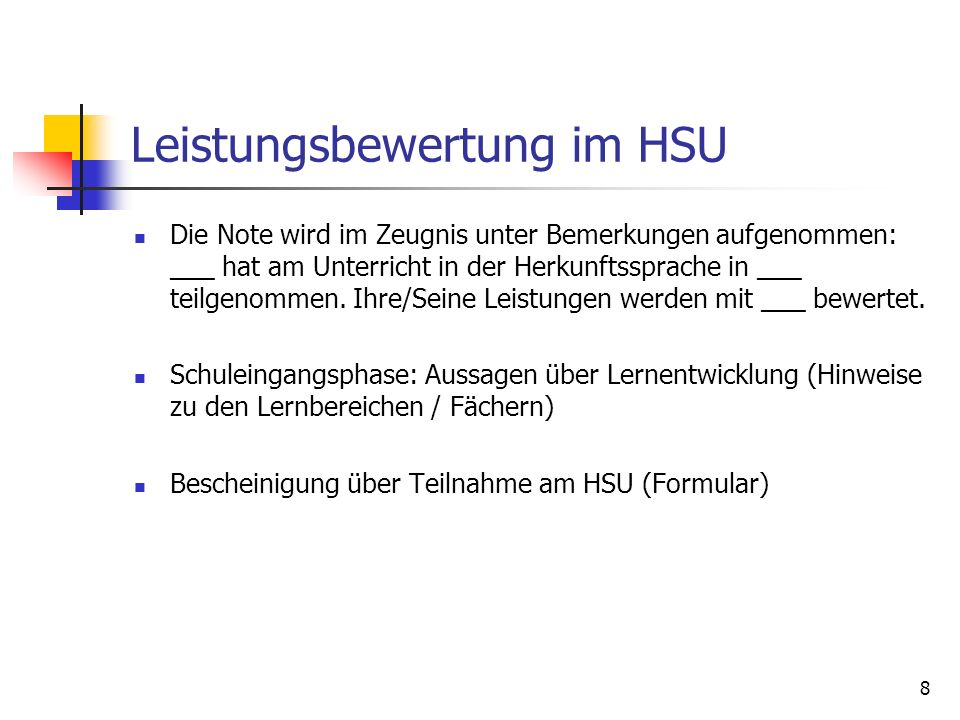 Leistungsbewertung im HSU