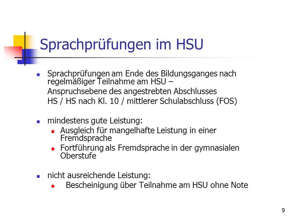 Sprachprüfungen im HSU