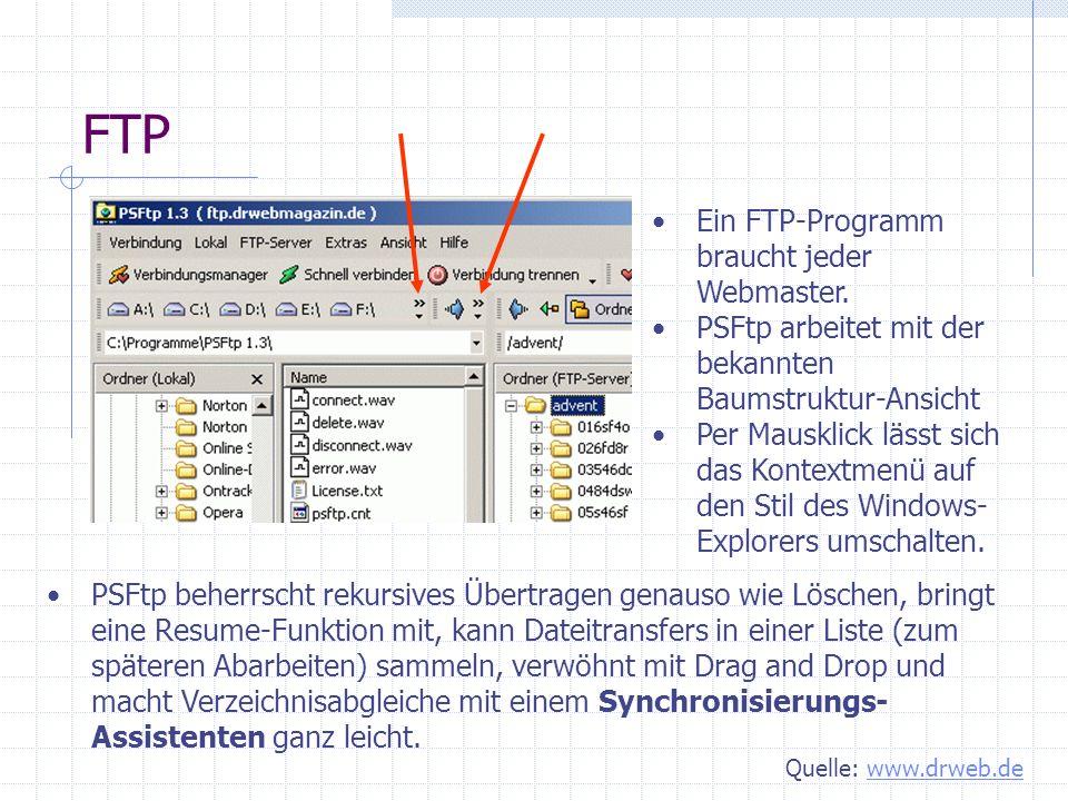 FTP Ein FTP-Programm braucht jeder Webmaster.
