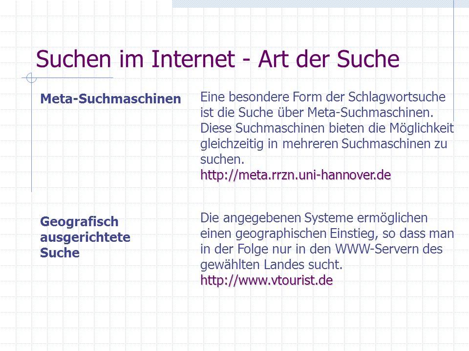Suchen im Internet - Art der Suche
