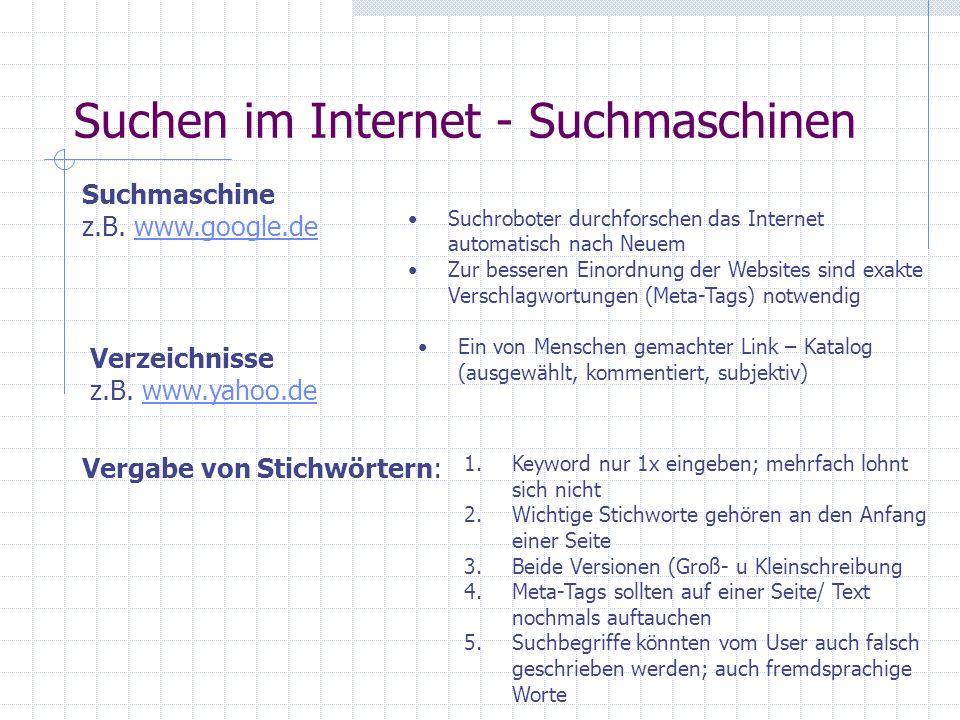 Suchen im Internet - Suchmaschinen