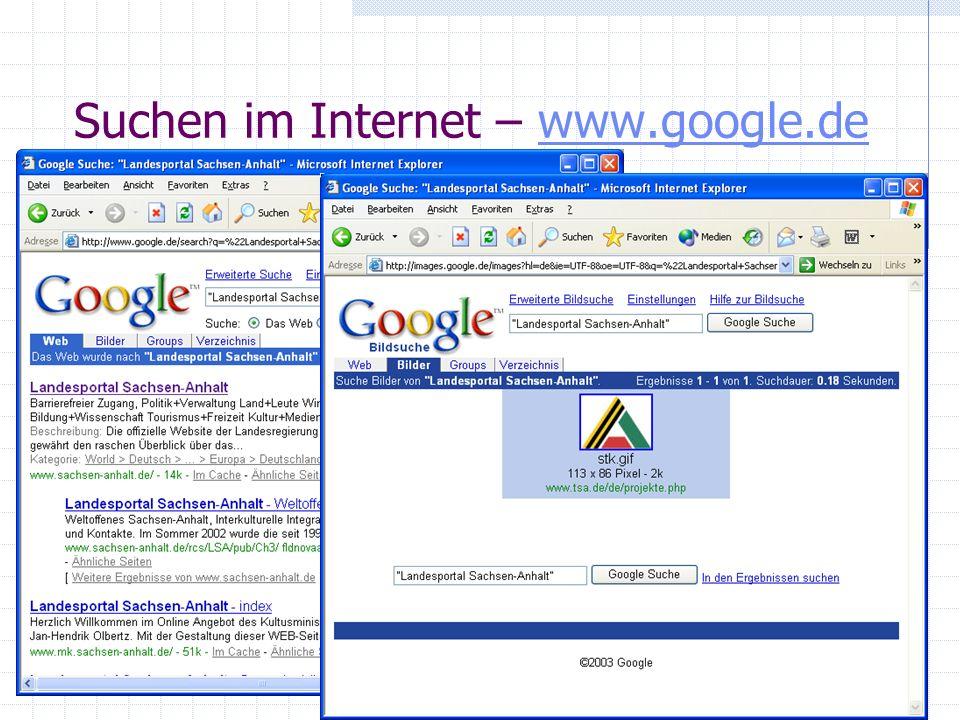 Suchen im Internet – www.google.de