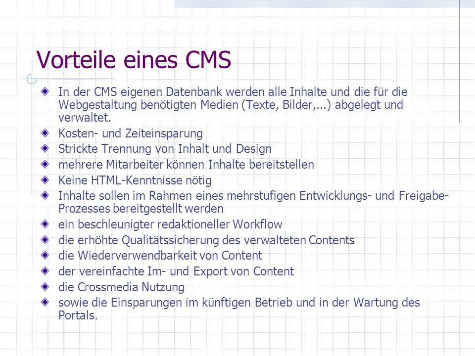 Vorteile eines CMS