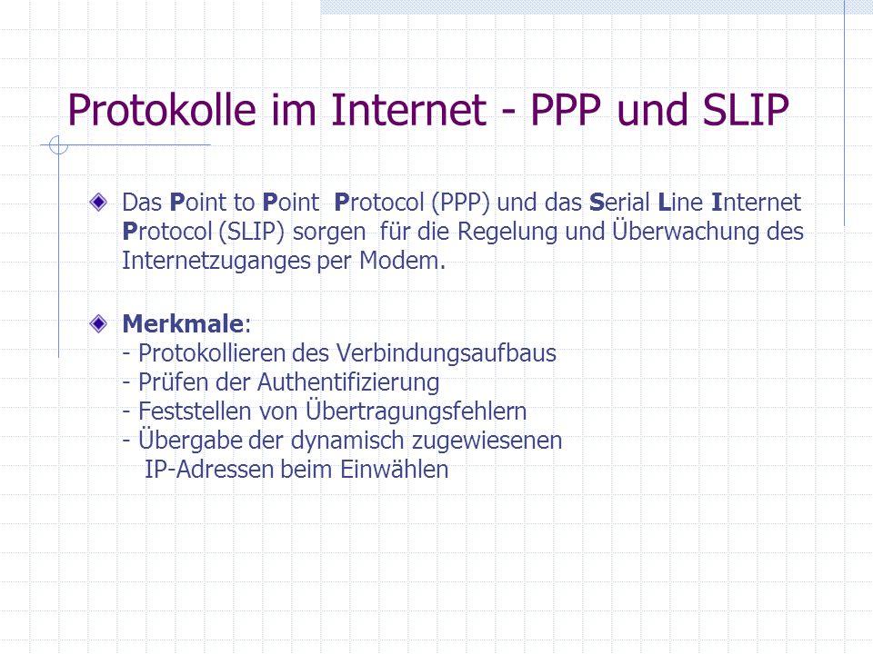 Protokolle im Internet - PPP und SLIP