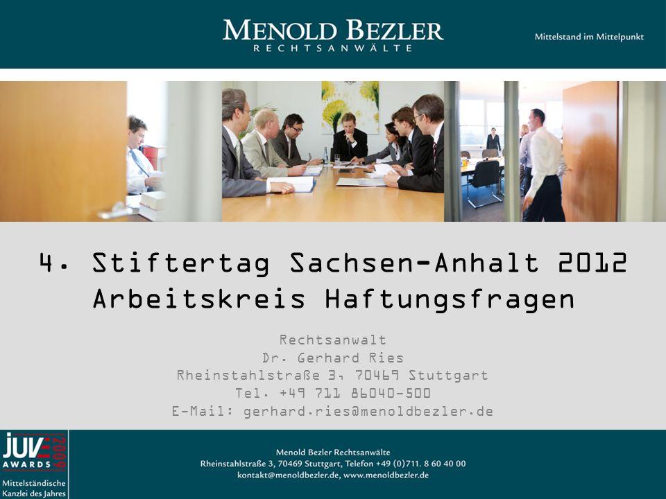 4. Stiftertag Sachsen-Anhalt 2012 Arbeitskreis Haftungsfragen