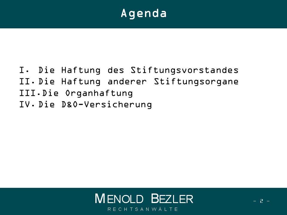 Agenda Die Haftung des Stiftungsvorstandes