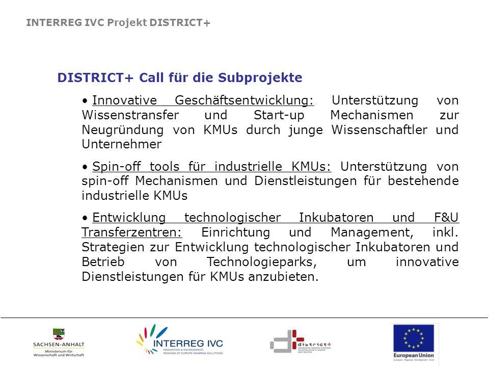 DISTRICT+ Call für die Subprojekte