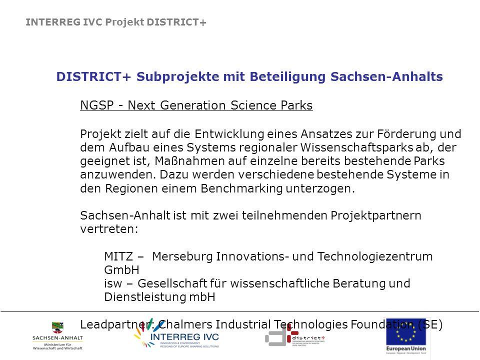 DISTRICT+ Subprojekte mit Beteiligung Sachsen-Anhalts