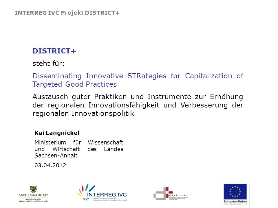 INTERREG IVC Projekt DISTRICT+