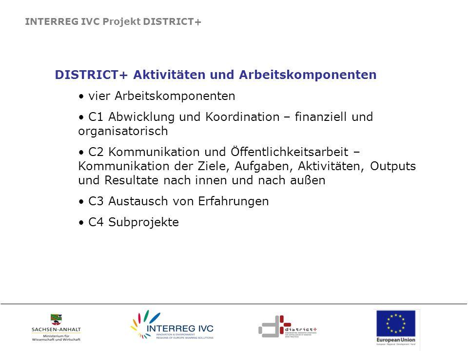 DISTRICT+ Aktivitäten und Arbeitskomponenten vier Arbeitskomponenten