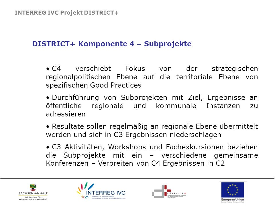 DISTRICT+ Komponente 4 – Subprojekte