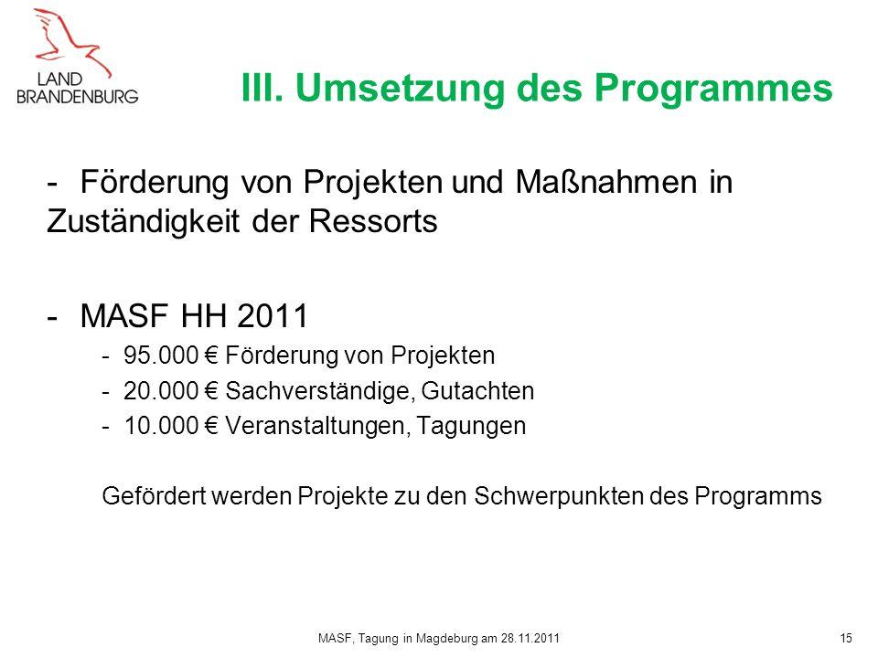 III. Umsetzung des Programmes