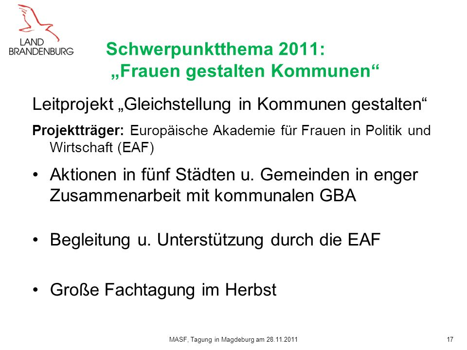 """Schwerpunktthema 2011: """"Frauen gestalten Kommunen"""