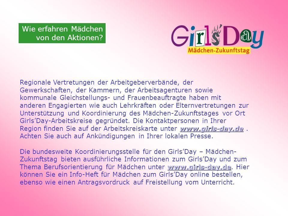 Wie erfahren Mädchen von den Aktionen