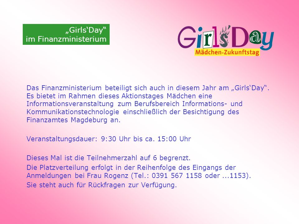 """Girls'Day im Finanzministerium"