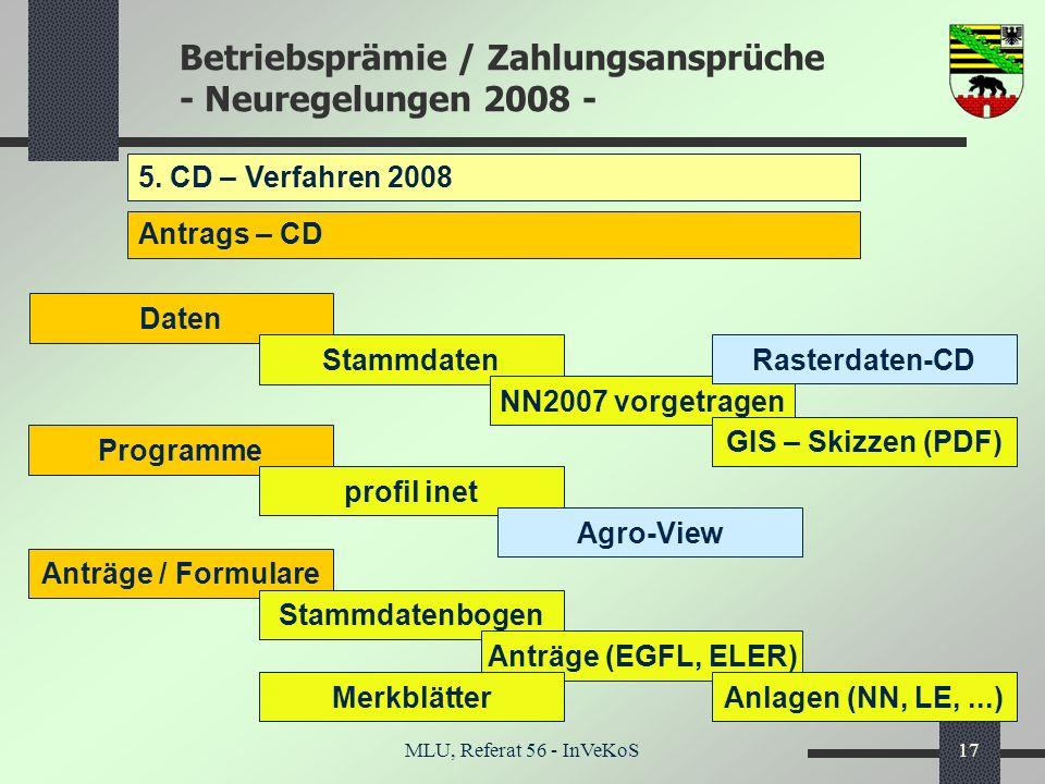5. CD – Verfahren 2008 Antrags – CD Daten Stammdaten Rasterdaten-CD