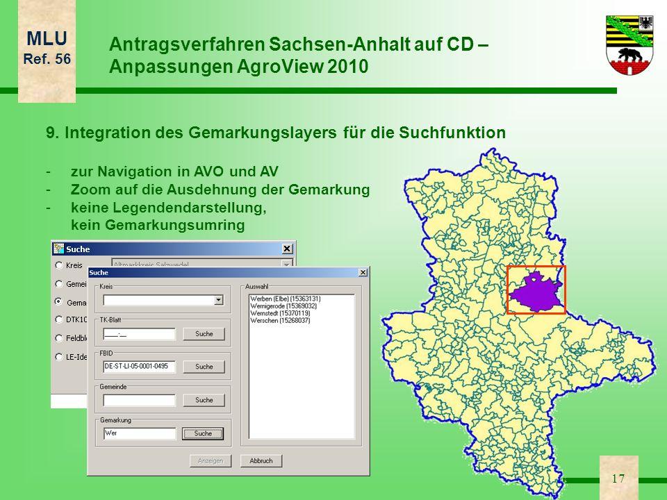 Antragsverfahren Sachsen-Anhalt auf CD – Anpassungen AgroView 2010