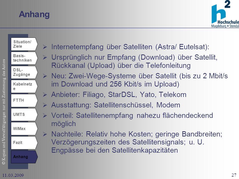 Anhang Internetempfang über Satelliten (Astra/ Eutelsat):