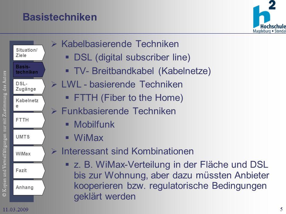 Basistechniken Kabelbasierende Techniken DSL (digital subscriber line)