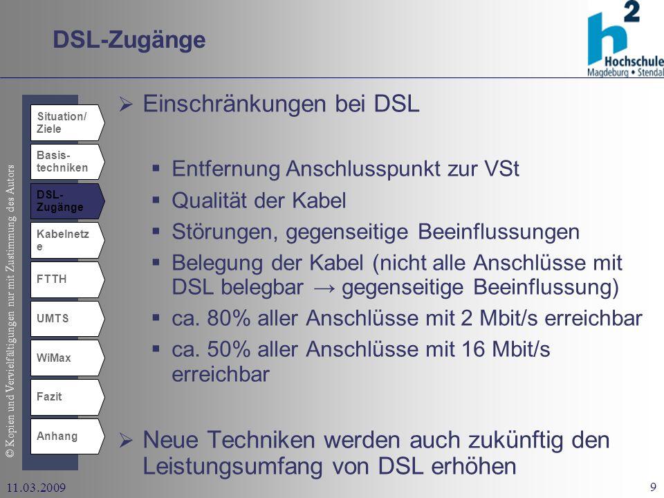 Einschränkungen bei DSL