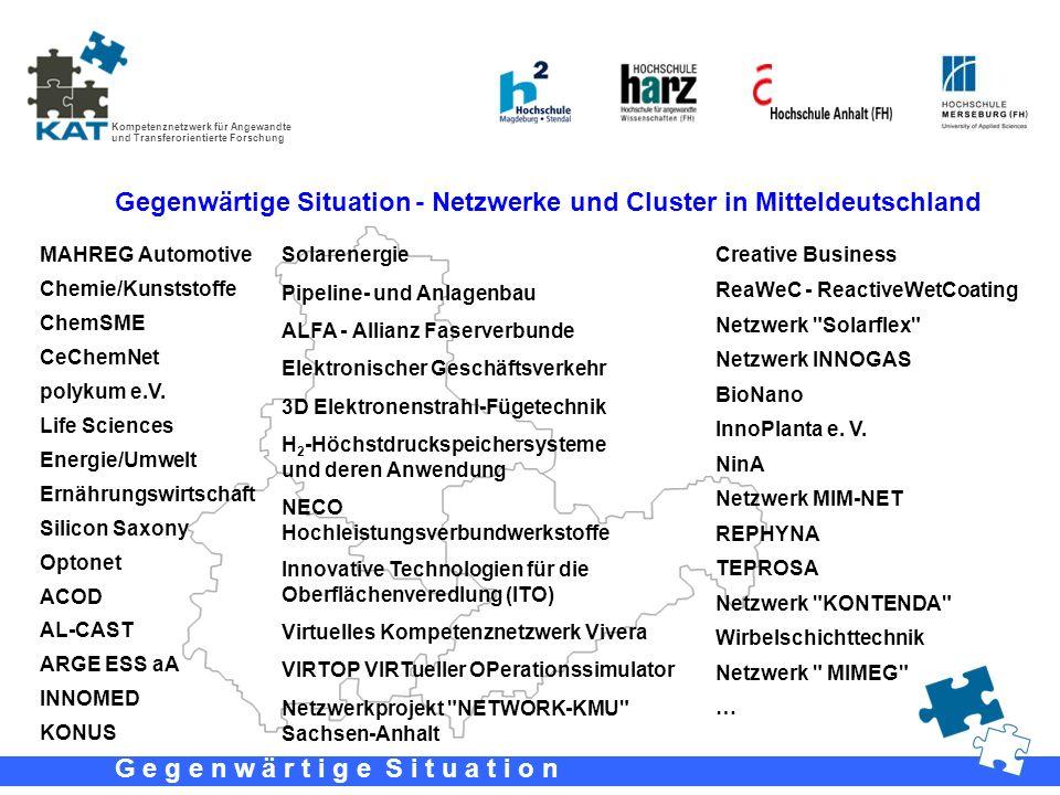 Gegenwärtige Situation - Netzwerke und Cluster in Mitteldeutschland
