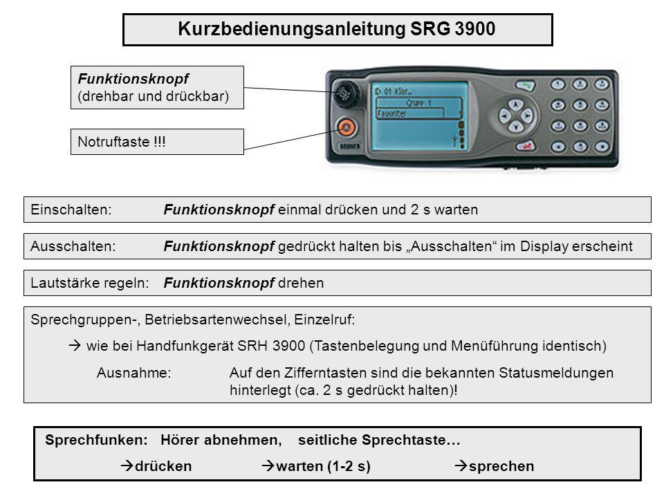 Kurzbedienungsanleitung SRG 3900