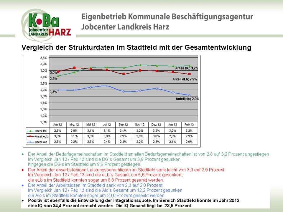 Vergleich der Strukturdaten im Stadtfeld mit der Gesamtentwicklung