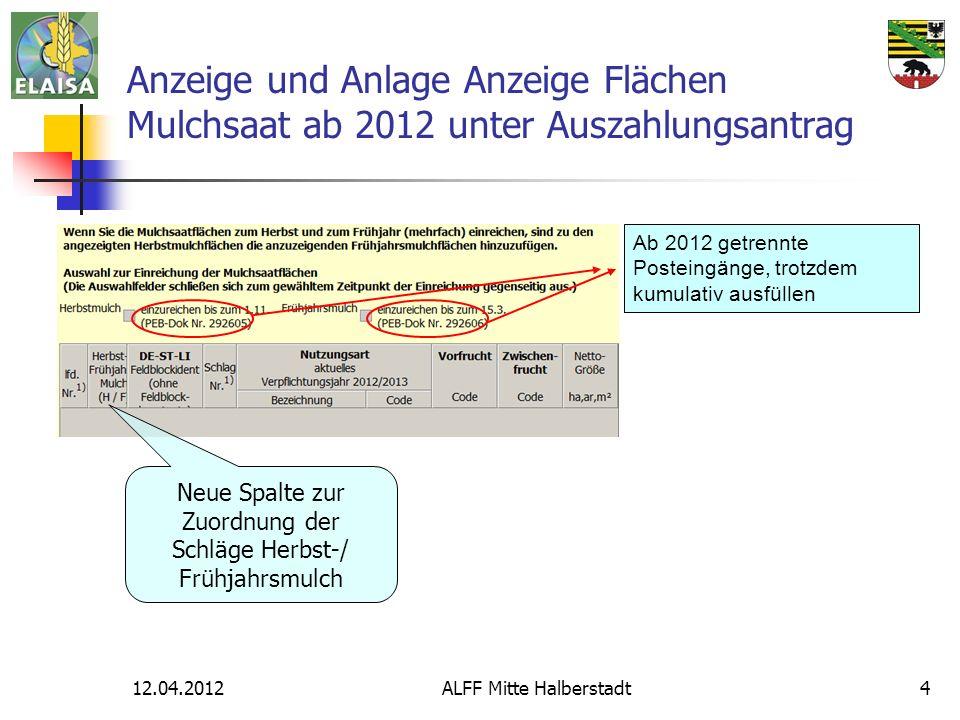 Anzeige und Anlage Anzeige Flächen Mulchsaat ab 2012 unter Auszahlungsantrag
