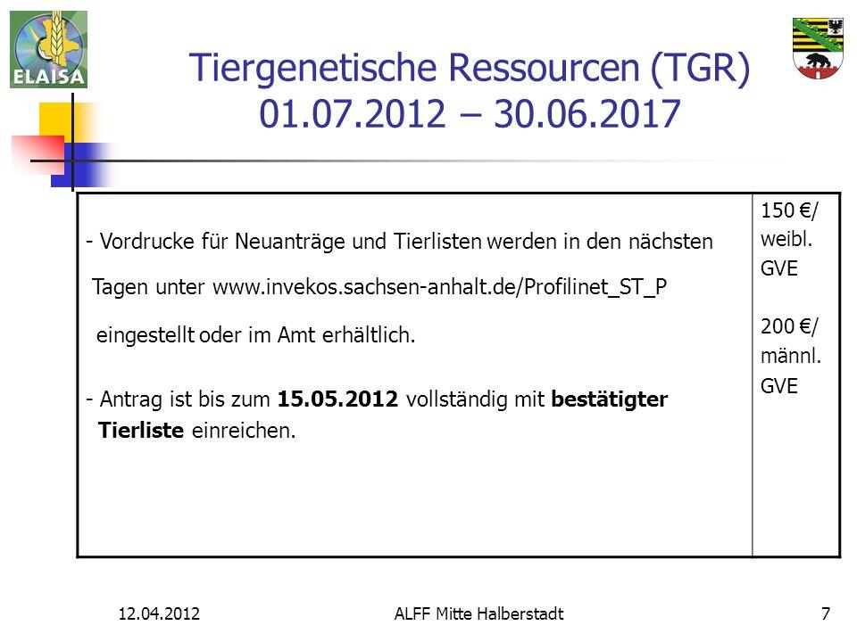 Tiergenetische Ressourcen (TGR) 01.07.2012 – 30.06.2017