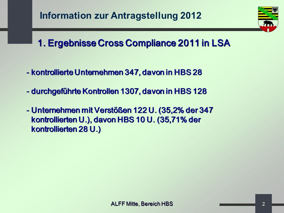 1. Ergebnisse Cross Compliance 2011 in LSA