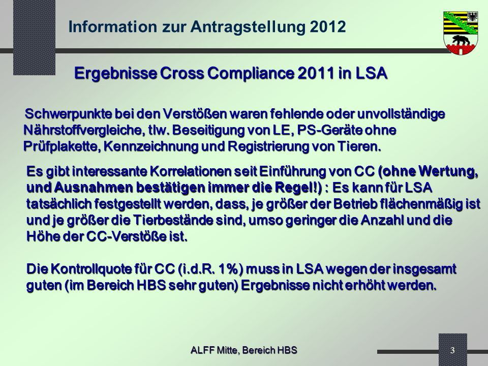 Ergebnisse Cross Compliance 2011 in LSA
