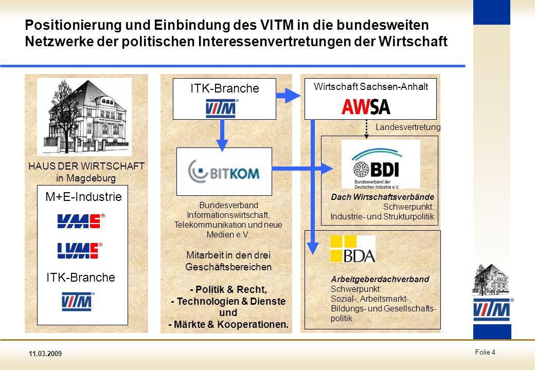 Positionierung und Einbindung des VITM in die bundesweiten Netzwerke der politischen Interessenvertretungen der Wirtschaft