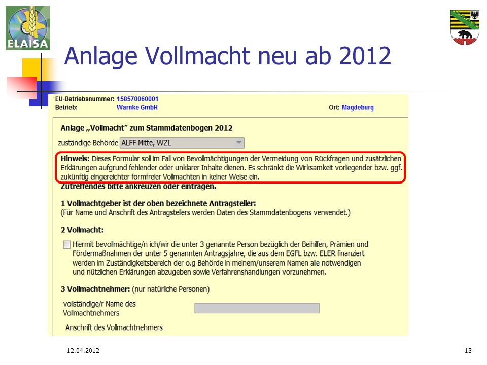 Anlage Vollmacht neu ab 2012