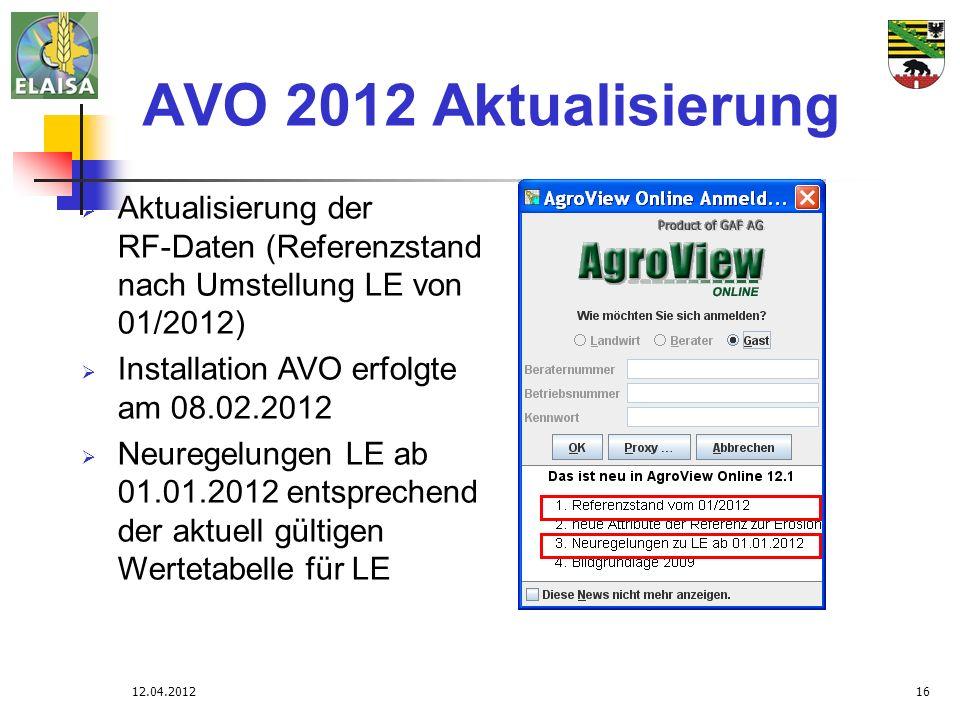AVO 2012 Aktualisierung Aktualisierung der RF-Daten (Referenzstand nach Umstellung LE von 01/2012)