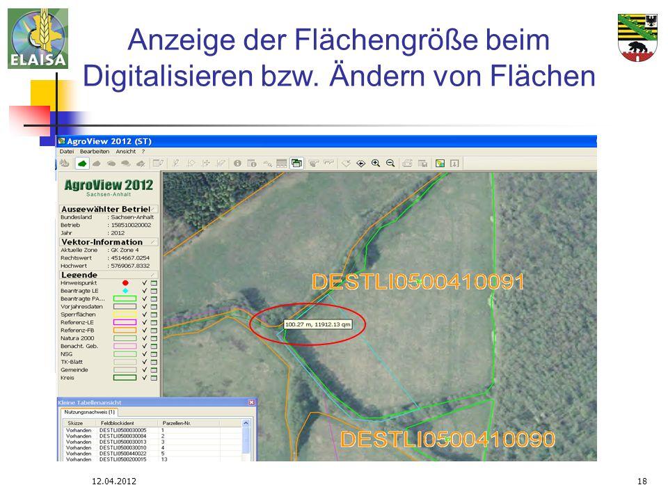 Anzeige der Flächengröße beim Digitalisieren bzw. Ändern von Flächen