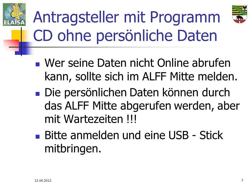 Antragsteller mit Programm CD ohne persönliche Daten