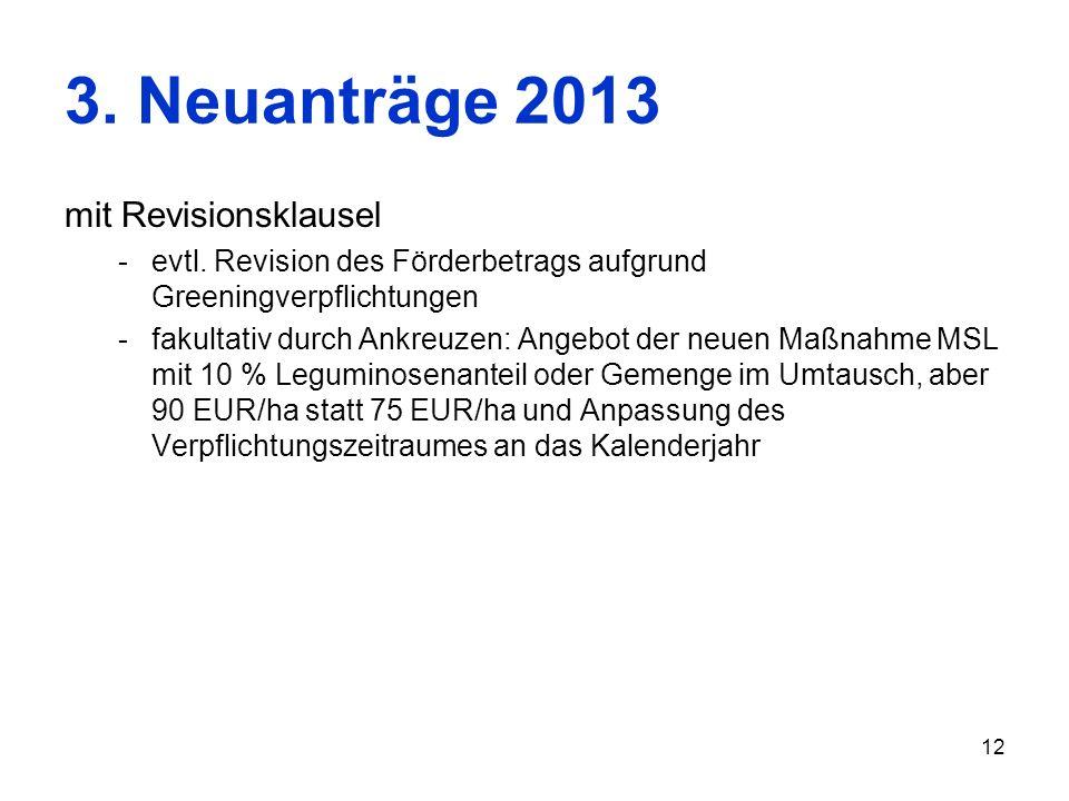 3. Neuanträge 2013 mit Revisionsklausel
