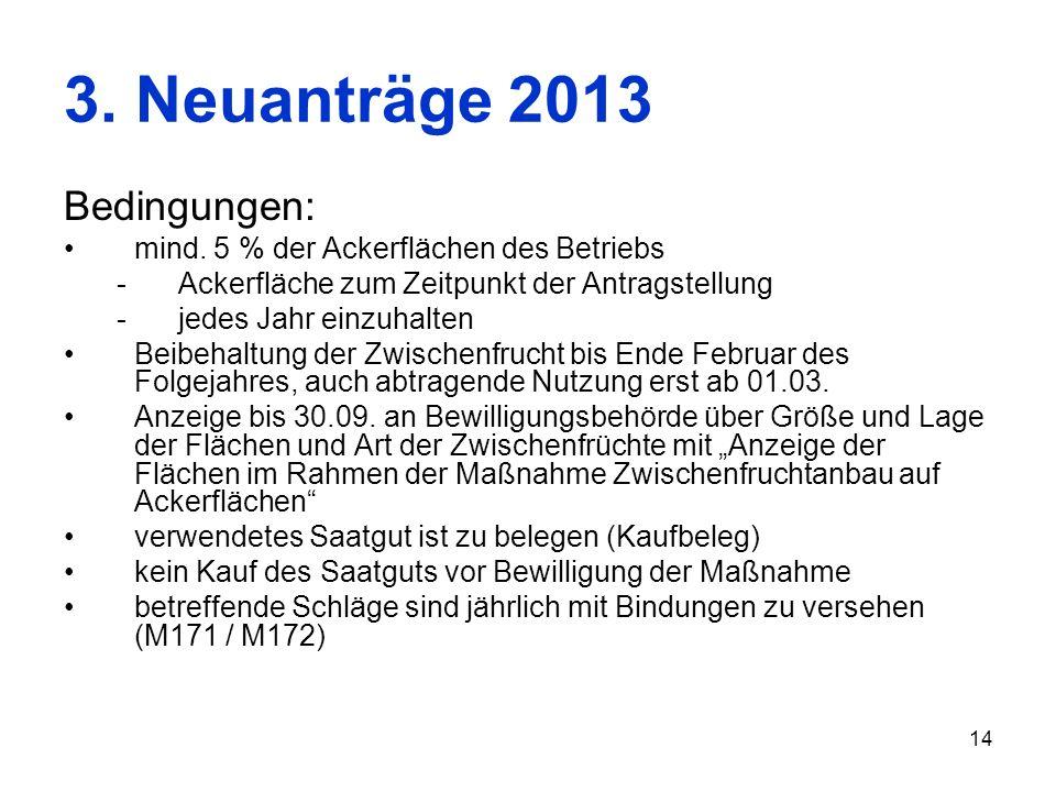 3. Neuanträge 2013 Bedingungen: