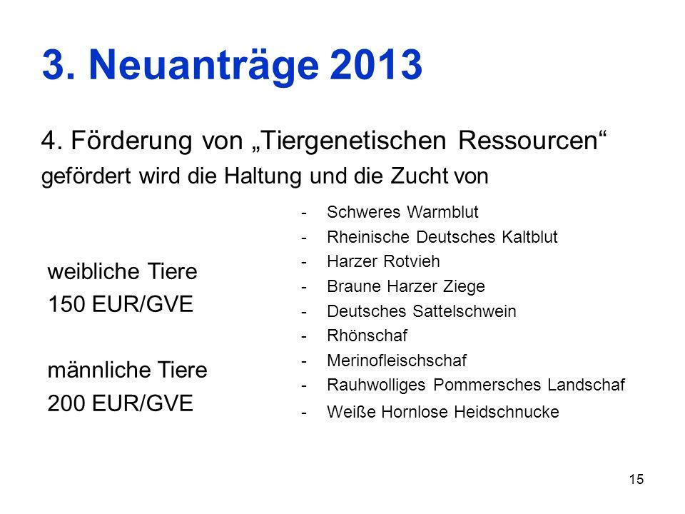 """3. Neuanträge 2013 4. Förderung von """"Tiergenetischen Ressourcen"""