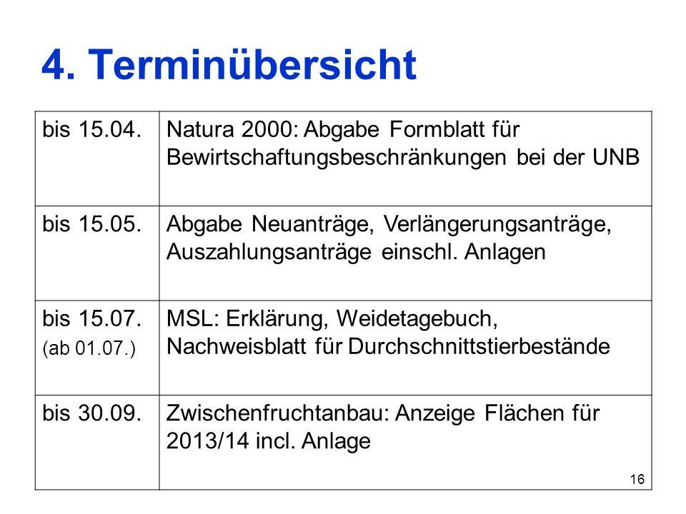 4. Terminübersichtbis 15.04. Natura 2000: Abgabe Formblatt für Bewirtschaftungsbeschränkungen bei der UNB.