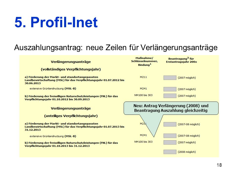 5. Profil-Inet Auszahlungsantrag: neue Zeilen für Verlängerungsanträge