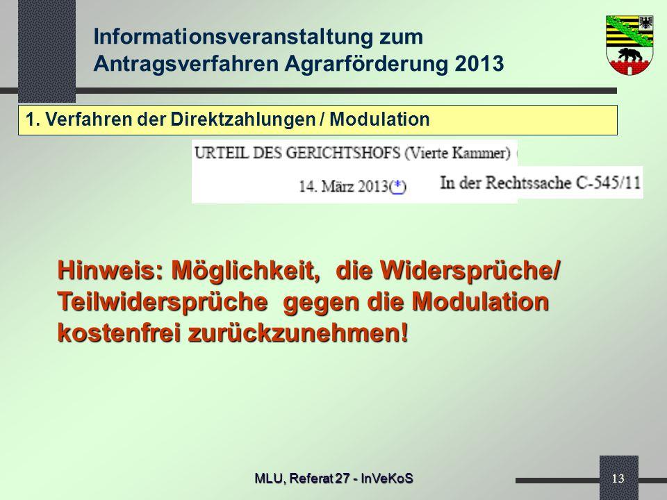 1. Verfahren der Direktzahlungen / Modulation
