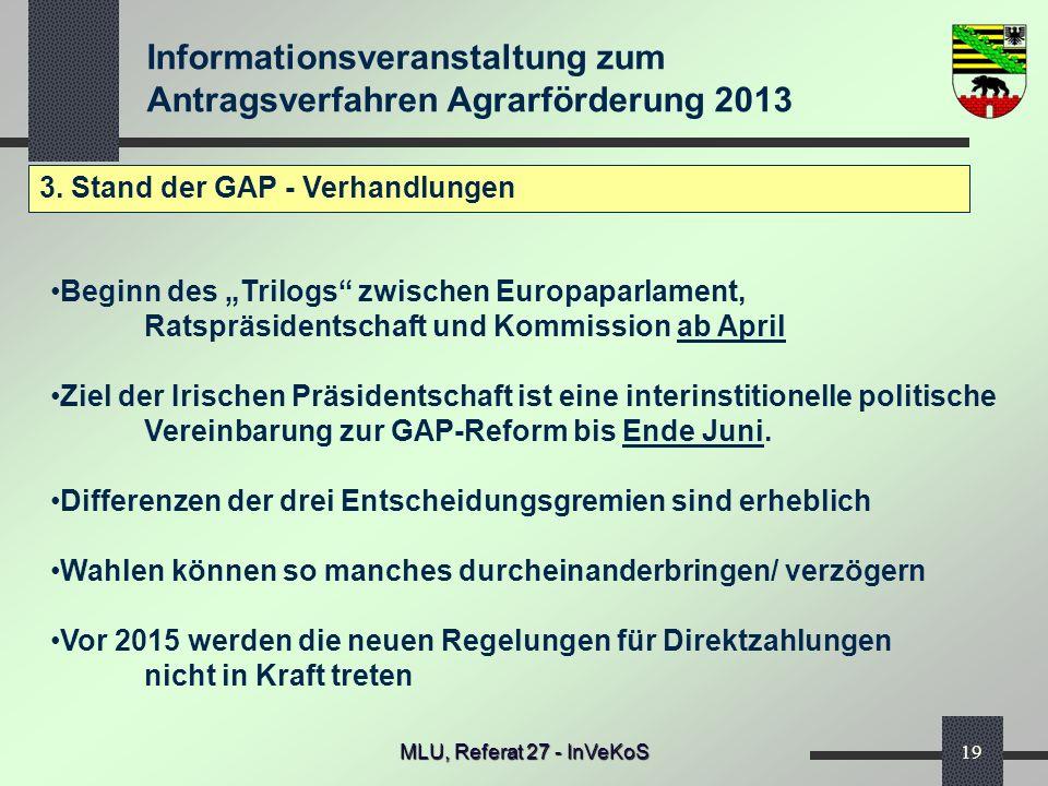 3. Stand der GAP - Verhandlungen