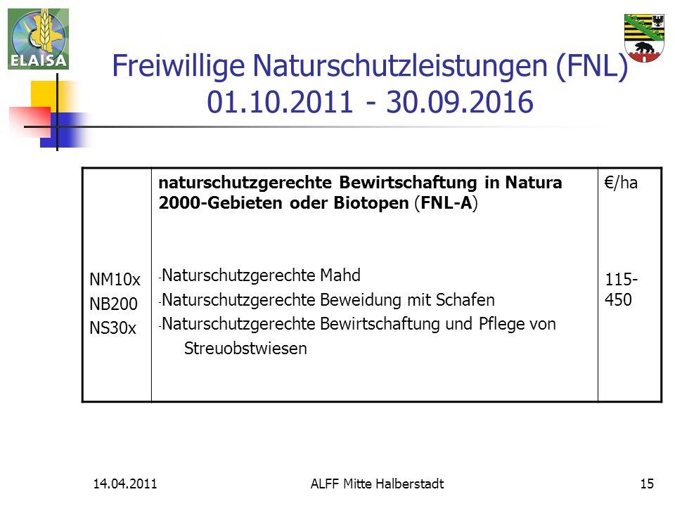 Freiwillige Naturschutzleistungen (FNL) 01.10.2011 - 30.09.2016